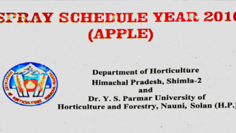Himachal Apple Spray Schedule Year 2016