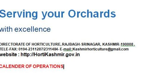 Skuast Kashmir – CALENDAR OF OPERATIONS 2018 KASHMIR